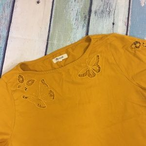 Madewell Tops - Madewell Butterfly Embroidered Eyelet Boxy Tee S